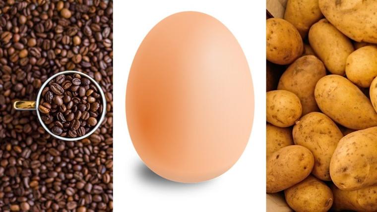 coffee potato and eggs